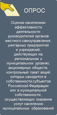 Оценка населением эффективности деятельности руководителей органов местного самоуправления, унитарных предприятий и учреждений, действующих на региональном и муниципальном уровнях, акционерных обществ, контрольный пакет акций которых находится в собственности субъектов Российской Федерации или в муниципальной собственности, осуществляющих оказание услуг населению муниципальных образований